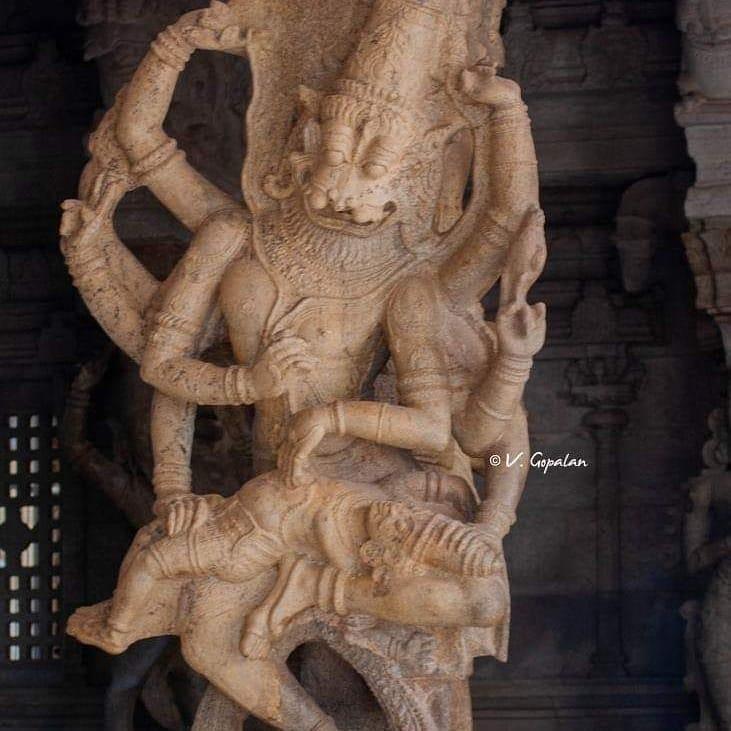 In Thirukurungudi TN temple on two pillars two different  scenes of Narasimha ki...